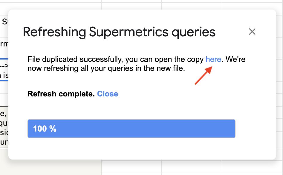 Supermetrics for Google Sheets, refresh queries pop-up.