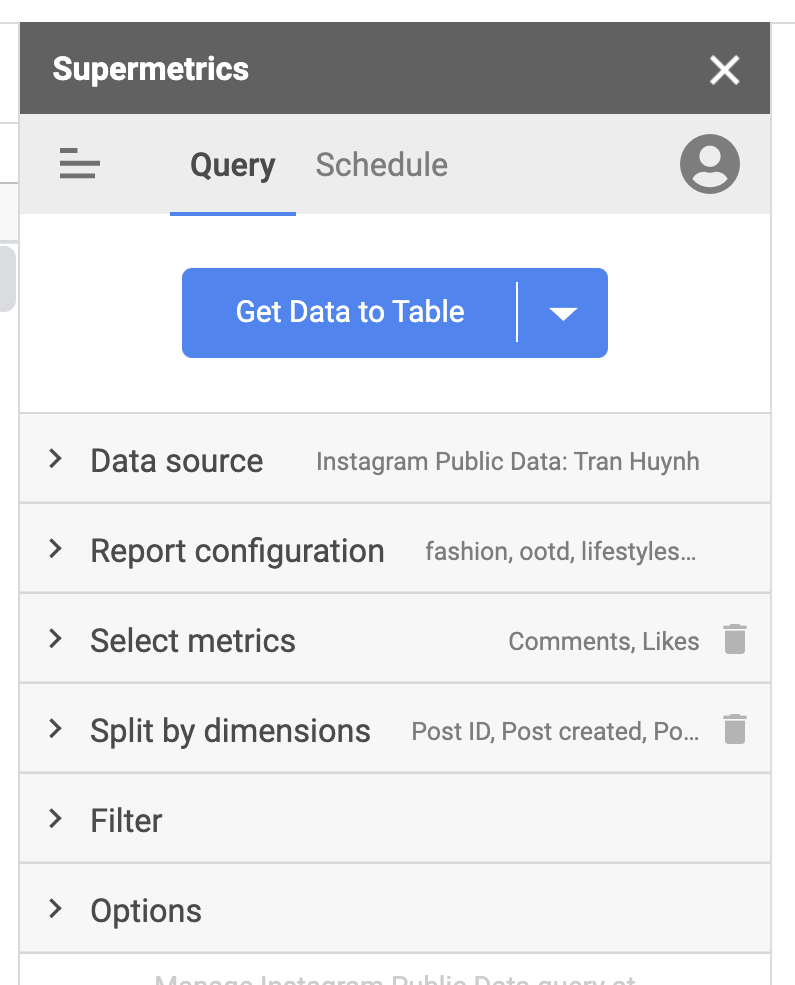 Supermetrics for Google Sheets data query settings view in sidebar Instagram Public Data connector