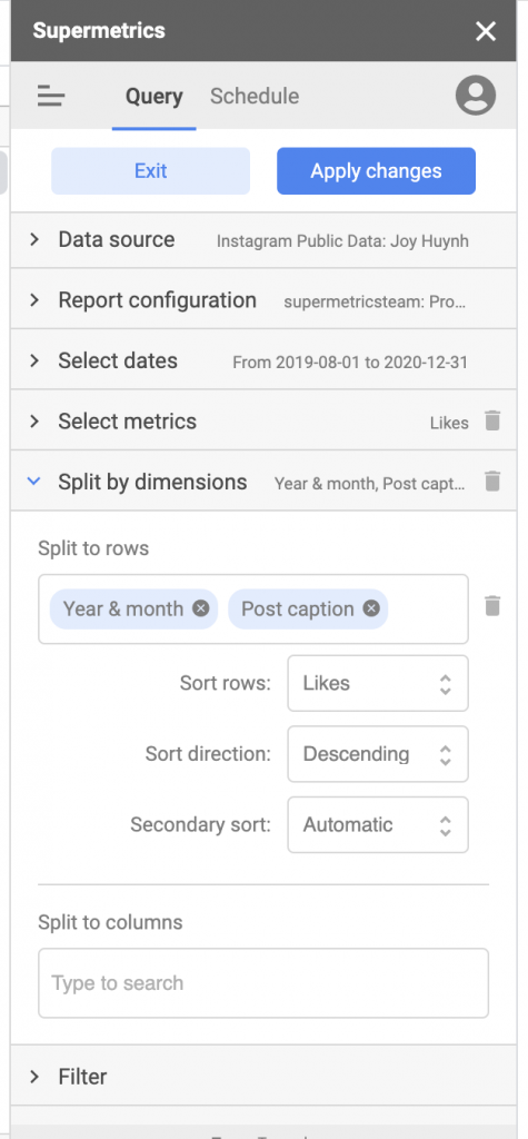 Supermetrics for Google Sheets data query split by dimensions view in sidebar for Instagram Public Data connector split to rows settings 'year & month' and 'post caption' options