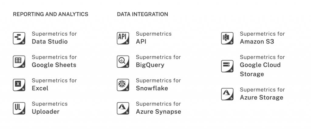 list of Supermetrics products