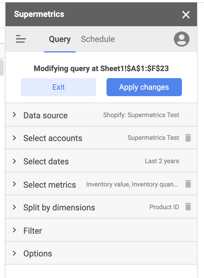 Supermetrics query to monitor your Shopify inventory