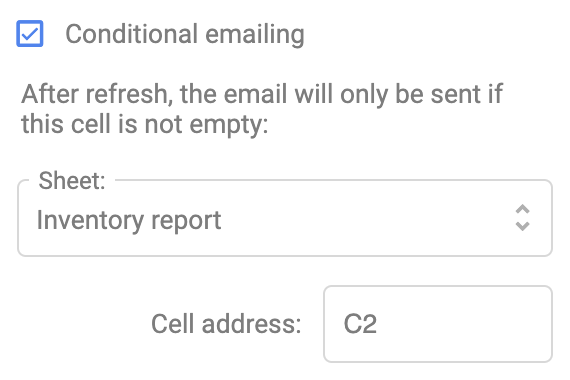 Set up conditional emailing in the Supermetrics add-on