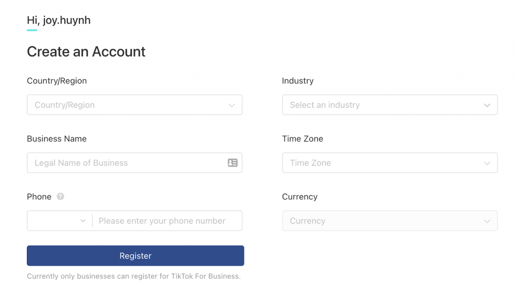 Create a TikTok Ads account