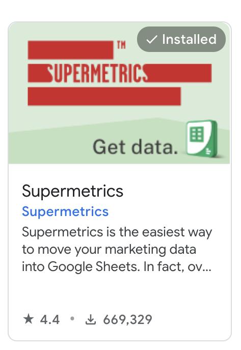 Supermetrics for Google Sheets add-on
