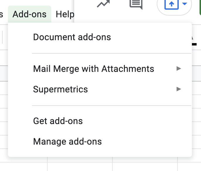 Find Supermetrics under the add-ons menu