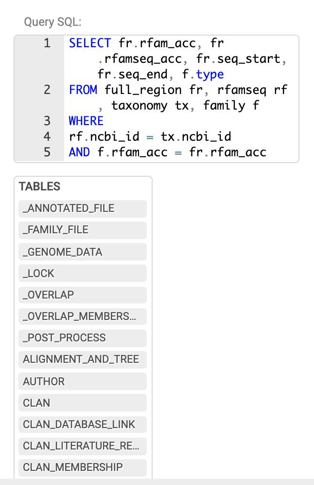 Example MySQL query