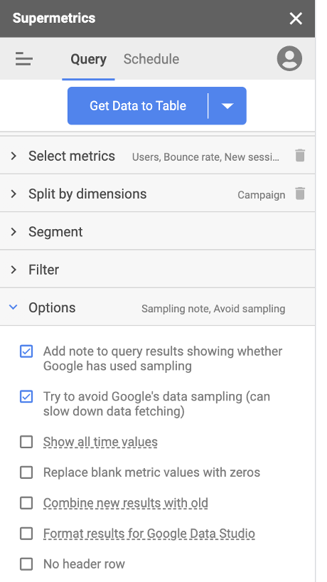 Get unsampled Google Analytics data into Google Sheets with Supermetrics