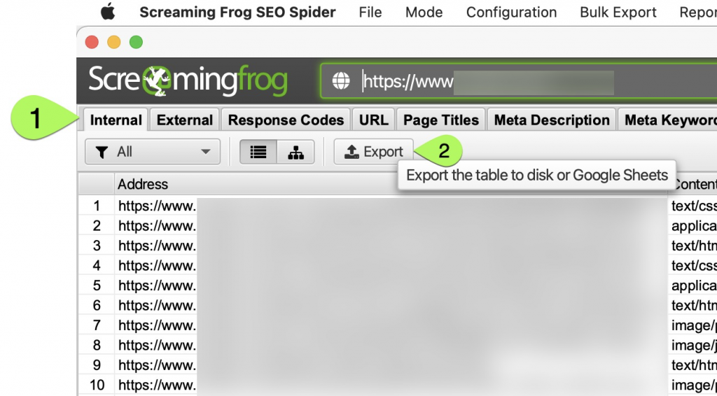 Export your list from Screaming Frog